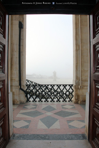 Via Latina da Universidade de Coimbra dentro de um intenso nevoeiro matinal. Via Latina at the University of Coimbra in a heavy morning fog