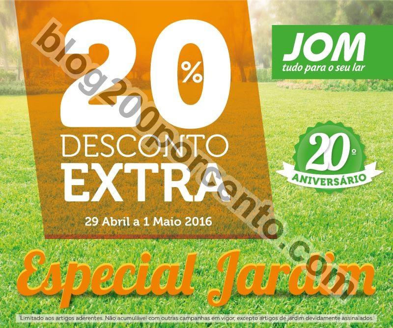 20% de desconto JOM promoções de 29 abril a 1 ma