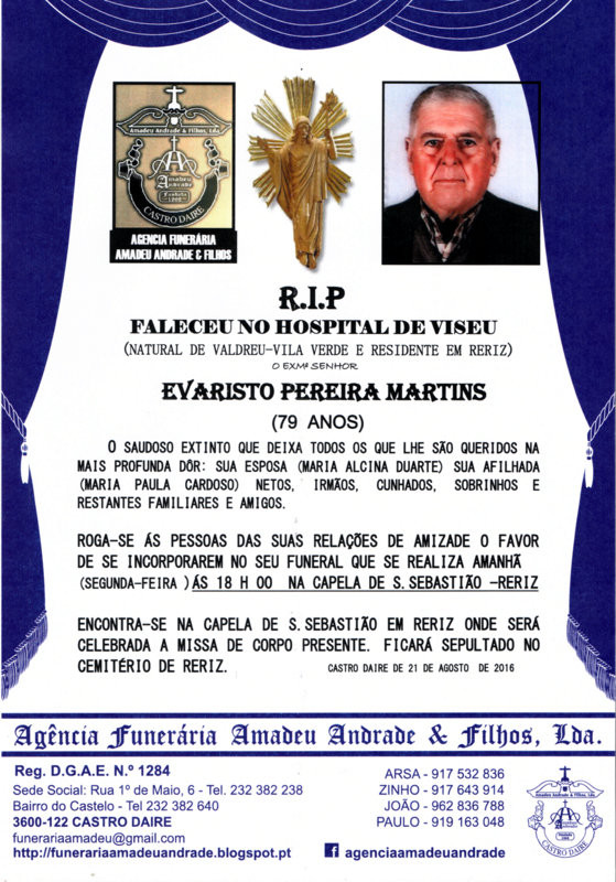 RIP3- DE EVARISTO PEREIRA MARTINS-79 ANOS (RERIZ).