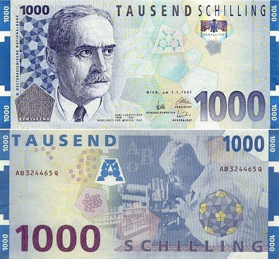 1000_Schilling_banknote_Karl_Landsteiner_front_bac