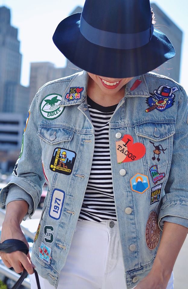 Outfit with patches on denim jacket .png