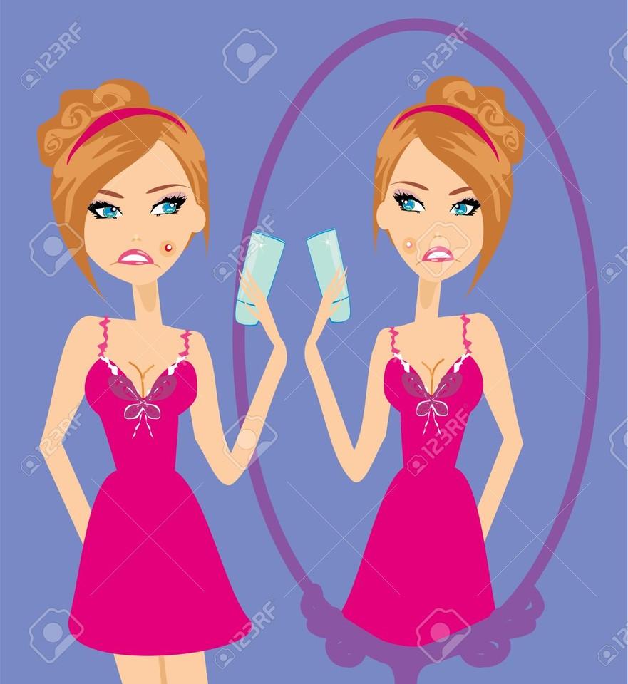 18712745-girl-with-a-pimple--Stock-Vector-acne-car