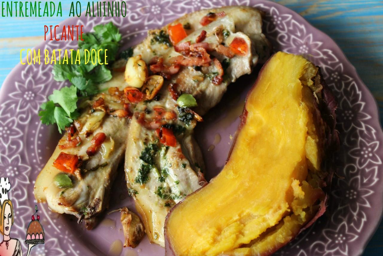 Entremeada ao alhinho picante com batata doce