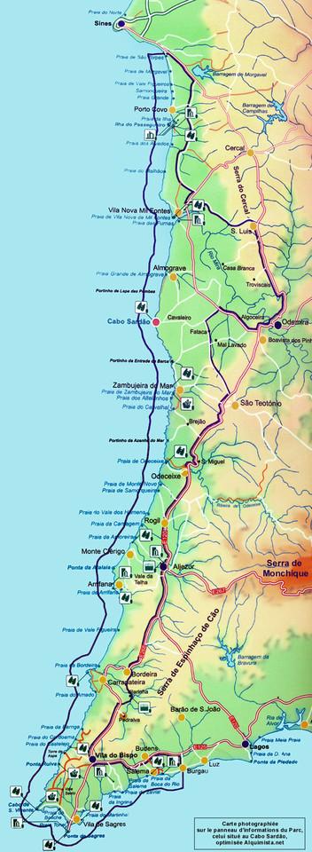 Mapa Parque Natural Sudoeste Alentejano e Costa Vi