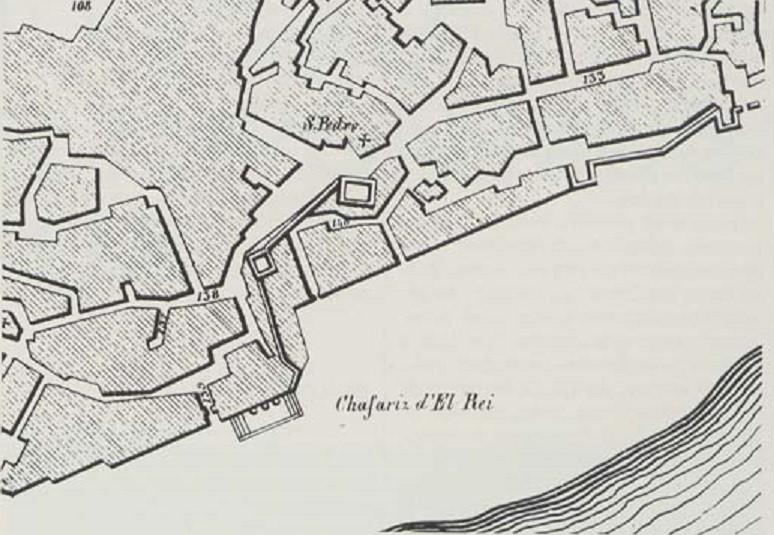 Chafariz de El-Rei na planta de Lisboa de 1650, le