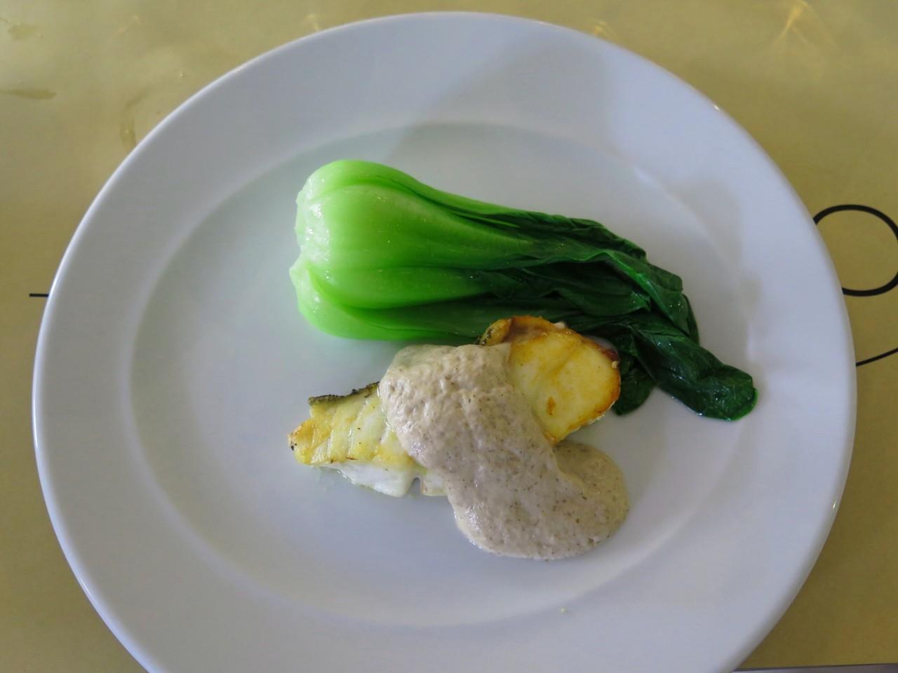 Garoupa grelhada com creme de shiitake