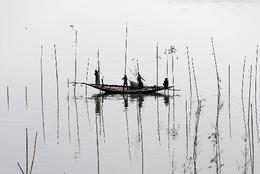 Pesca no rio em Daca, Bangladesh