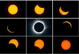 Várias fases do eclipse solar, Indonésia