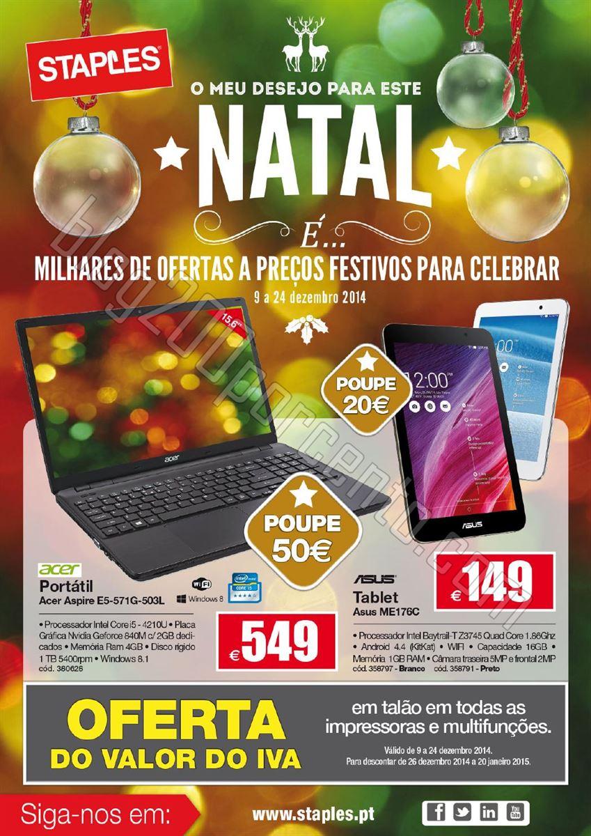 Novo Folheto STAPLES Natal de 9 a 24 dezembro p1.j